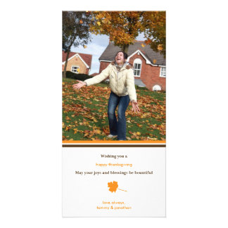 Contemporary leaf Thanksgiving photo greeting Photo Card