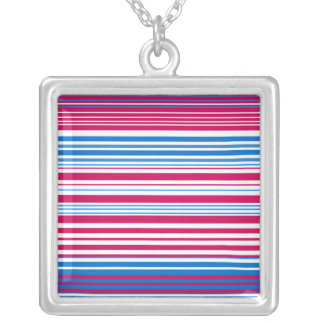 Contemporary light blue pink and white stripes custom necklace