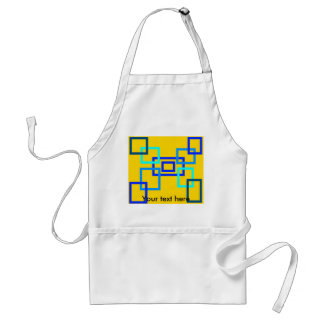 Contemporary light blue squares on yellow adult apron