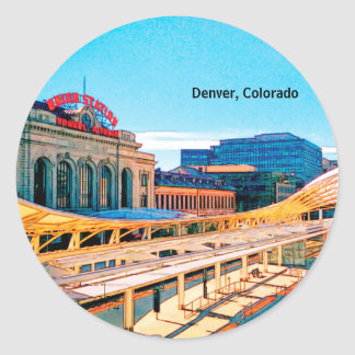 Contemporary Look of Union Station, Denver, CO Classic Round Sticker