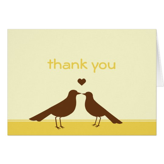Contemporary love birds yellow brown thank you card