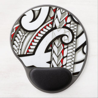 Contemporary Maori tribal design with red accents Gel Mouse Pad