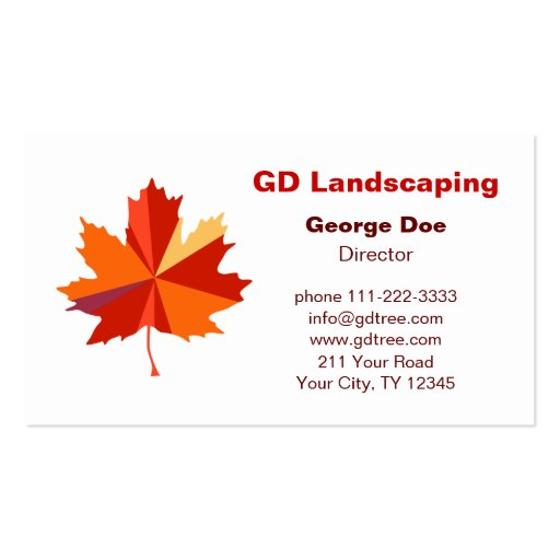 Contemporary maple leaf business cards zazzle for Leaf business cards