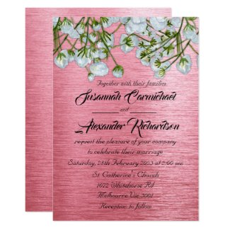 Contemporary Metallic Pink and White Roses Wedding Invitation