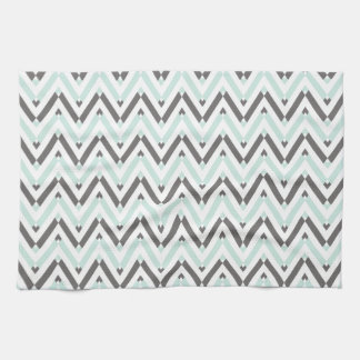 Contemporary Mint Gray White Chevron Striped Hand Towels