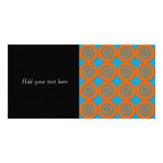 Contemporary Modern Design Orange Blue Circles Card