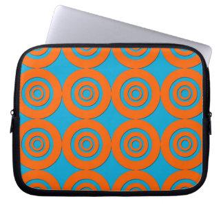 Contemporary Modern Design Orange Blue Circles Laptop Computer Sleeve