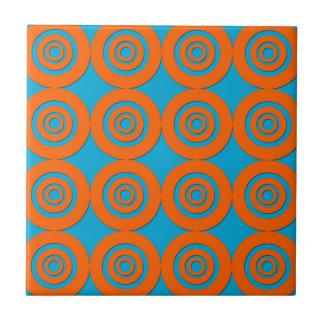 Contemporary Modern Design Orange Blue Circles Tiles