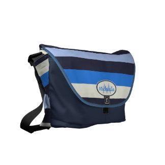 Contemporary Monogram Cool Blues and cream stripes Courier Bag