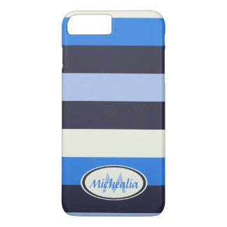Contemporary Monogram Cool Blues stripes iPhone 7 Plus Case