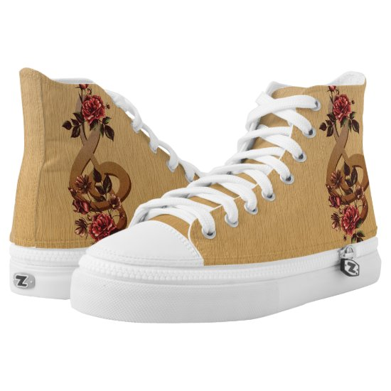 Contemporary Music and Roses High-Top Sneakers