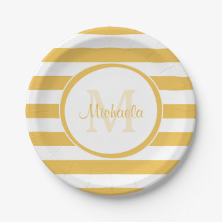 Contemporary Named Mimosa Yellow Awning Stripes Paper Plate