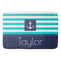 Contemporary Nautical Anchor Personalized Text Bath Mat