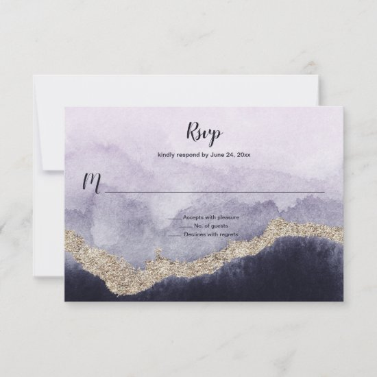 Contemporary Navy Lavender and Gold Marble | RSVP Card