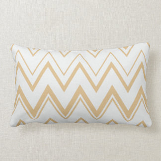 Contemporary neutral gold  white chevron pattern lumbar pillow