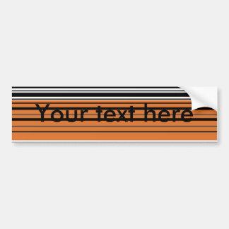 Contemporary orange and black horizontal stripes car bumper sticker