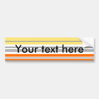 Contemporary orange and yellow horizontal stripes car bumper sticker