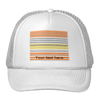 Contemporary orange and yellow horizontal stripes mesh hat
