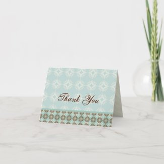 Contemporary Pattern, Aqua, Thank You Note Cards card