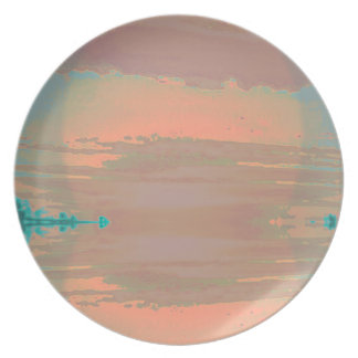 Contemporary Peach Teal Abstract Sunrise Sunset Dinner Plate
