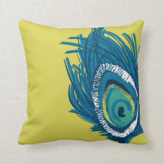 Contemporary Peacock Feather Pillow Style 1