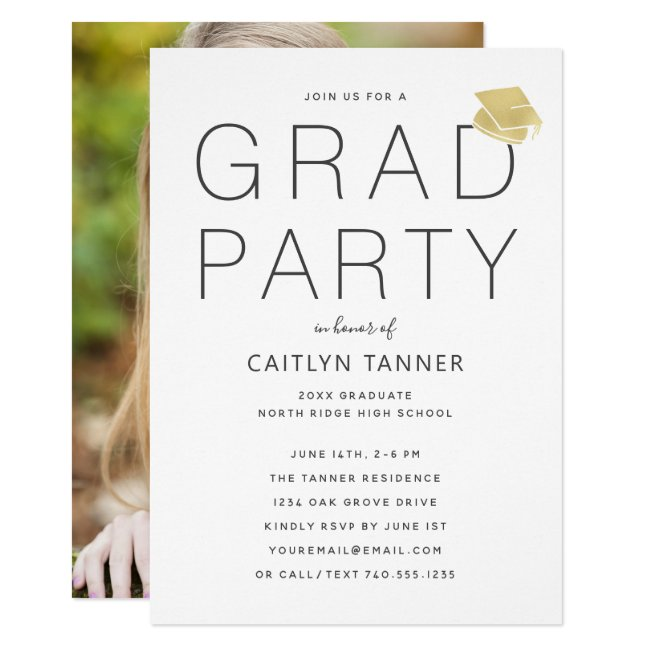 Contemporary Photo Graduation Party Invitation