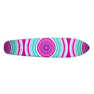 Contemporary pink and baby blue circles skate board deck