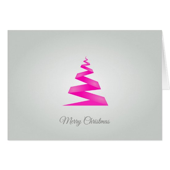 Contemporary, Pink Geometric Christmas Tree Card