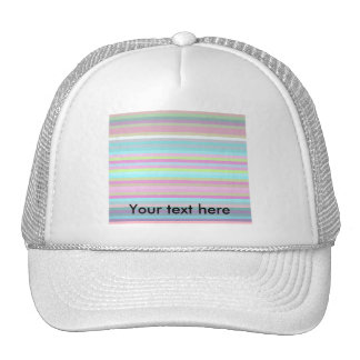 Contemporary pink yellow and baby blue stripes trucker hats