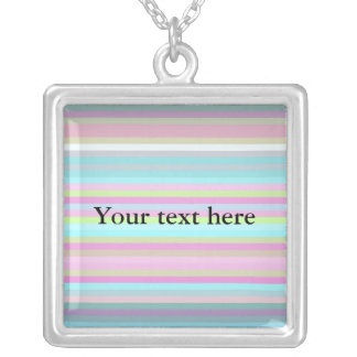 Contemporary pink yellow and baby blue stripes square pendant necklace