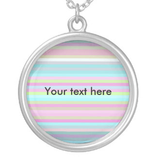 Contemporary pink yellow and baby blue stripes round pendant necklace