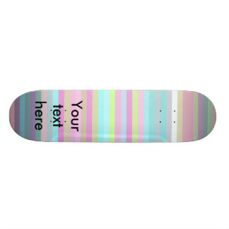Contemporary pink yellow and baby blue stripes skate board deck