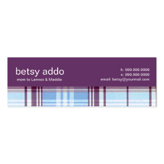 Contemporary Plaid Mommy Calling Card Business Cards