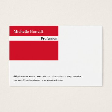 Beach Themed Contemporary Plain Red White Minimalist Modern Business Card