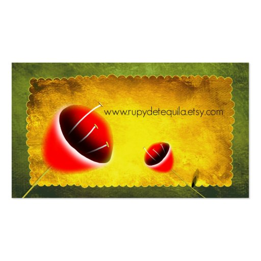 Contemporary Poppies Designer Lime profile Cards B Business Card