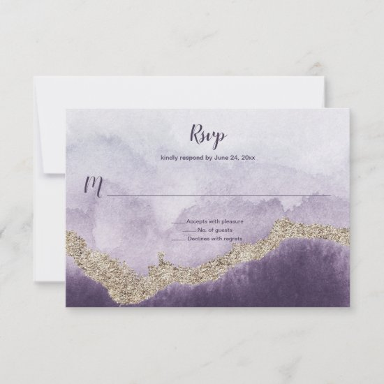 Contemporary Purple Amethyst and Gold Veining | RSVP Card