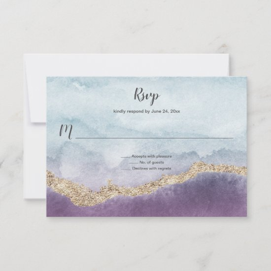 Contemporary Purple Turquoise and Gold Marble | RSVP Card