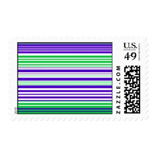 Contemporary purple white and green stripes postage