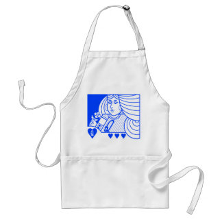 Contemporary Queen of Hearts Apron (blue)