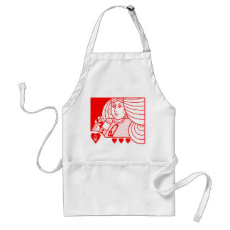 Contemporary Queen of Hearts Apron (red)