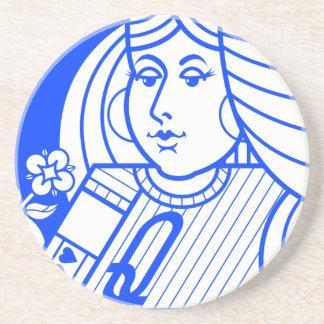 Contemporary Queen of Hearts Coaster (blue)
