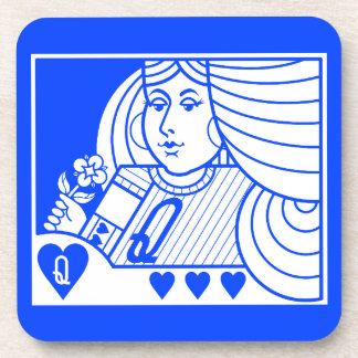 Contemporary Queen of Hearts Coaster (lt. on blue)