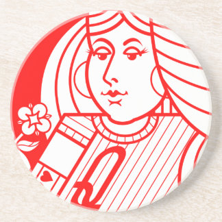 Contemporary Queen of Hearts Coaster (red)
