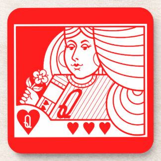 Contemporary Queen of Hearts Coasters (lt on red)