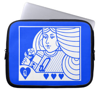 Contemporary Queen of Hearts Laptop Case (blue)