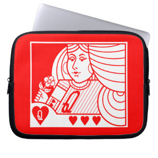 Contemporary Queen of Hearts Laptop Case (red)