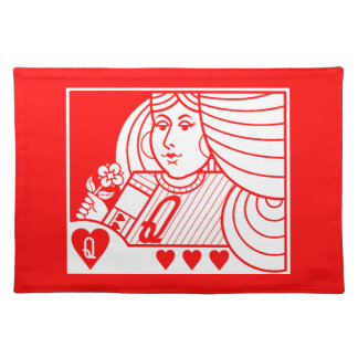 Contemporary Queen of Hearts Placemat (lt on red)