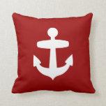Contemporary Red Anchor Pillow