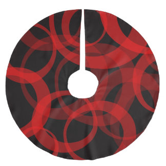 Contemporary Red and Black Circles Tree Skirt
