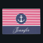"""Contemporary  Red Blue Anchor Personalized Text Placemat<br><div class=""""desc"""">Trendy nautical design of red and navy blue stripes,  white anchor and customized text.</div>"""